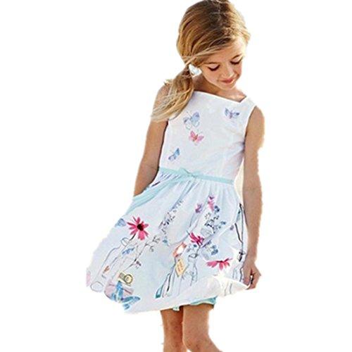 Internet Mädchenkleid Sommer Schnallen Sie Kinderkleidung Floral Schmetterling Print